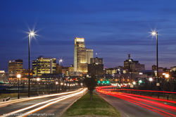 sunset, Omaha, Nebraska, Downtown, Skyline, Abbott Drive