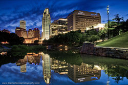 Omaha Skyline, Downtown, Omaha, Nebraska,Gene Leahy Mall, sunset