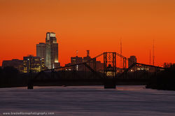 Omaha, Skyline, sunset, Illinois Central, Swing Bridge, Narrow Park, Council Bluffs, Iowa