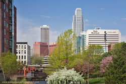 Omaha, Skyline, Downtown, Spring