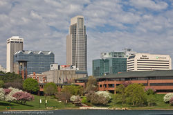 Omaha, Nebraska, Omaha Skyline, Spring, downtown, Heartland of America Park