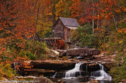 Glade Creek Grist Mill, West Virginia, babcock Park, fall color,