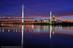 Downtown, Omaha, Skyline, Bob Kerry, Pedestrian Bridge, Missouri River, Omaha, Nebraska, Last Light