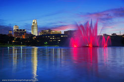 Omaha, Nebraska, Downtown, Skyline, Heartland of America Park, fountain, sunset