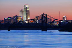 Omaha, Nebraska, Narrows Park, Council Bluffs, Iowa, Illinois Central, Swing Bridge, Omaha Skyline
