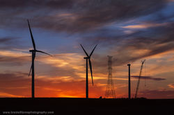 Nebraska, sunset, wind farm, creston
