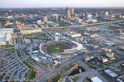TD Ameritrade Park, Omaha, Nebraska, baseball, skyline