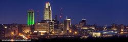 Omaha, Nebraska, Skyline, Woodman, St Patrick's Day,
