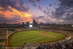TD Ameritrade Park, Omaha, Nebraska, baseball, thunder storm