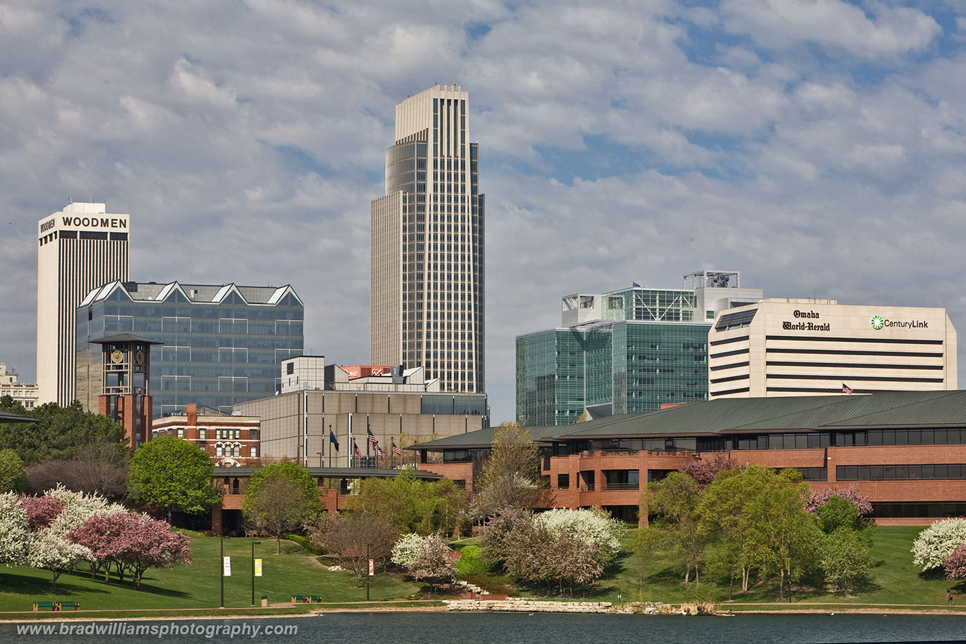 Omaha, Nebraska, Omaha Skyline, Spring, downtown, Heartland of America Park, photo