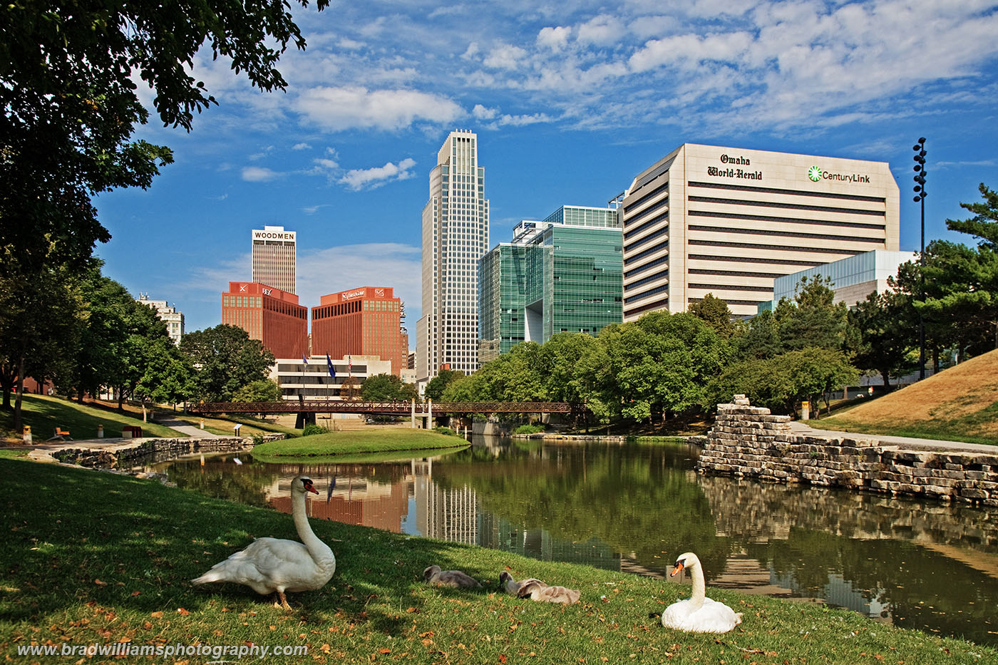 Gene Leahy Mall​, Downtown, Omaha, Nebraska​, Omaha Skyline, photo