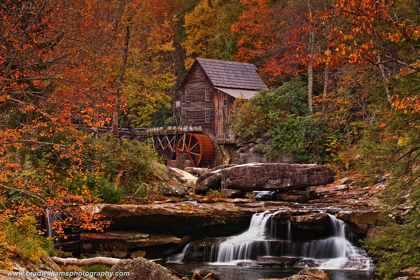 Glade Creek Grist Mill, West Virginia, babcock Park, fall color,, photo