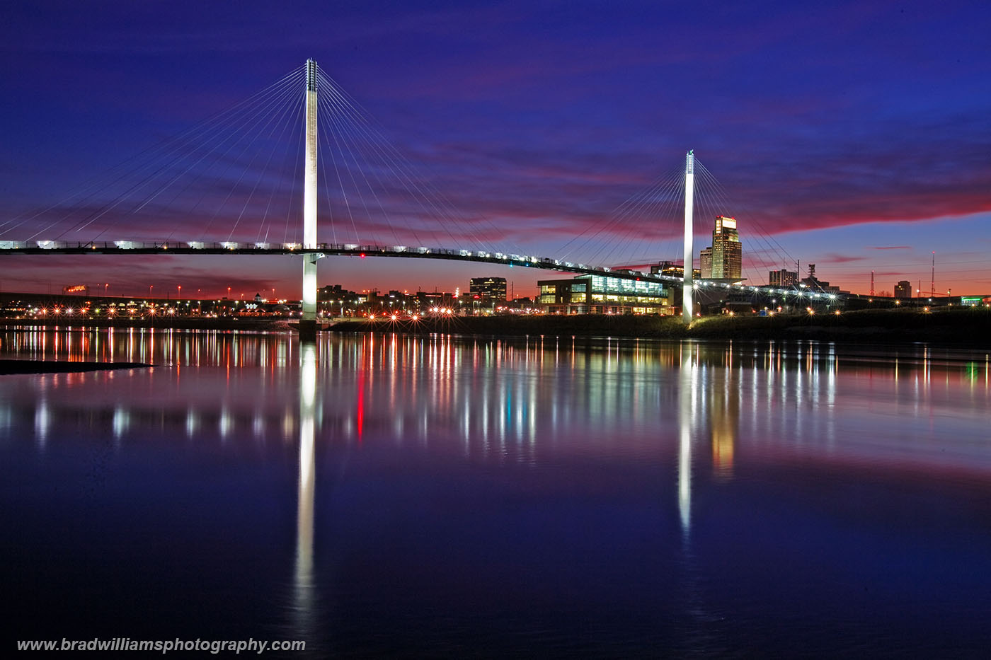 Downtown, Omaha, Skyline, Bob Kerry, Pedestrian Bridge, Missouri River, Omaha, Nebraska, Last Light