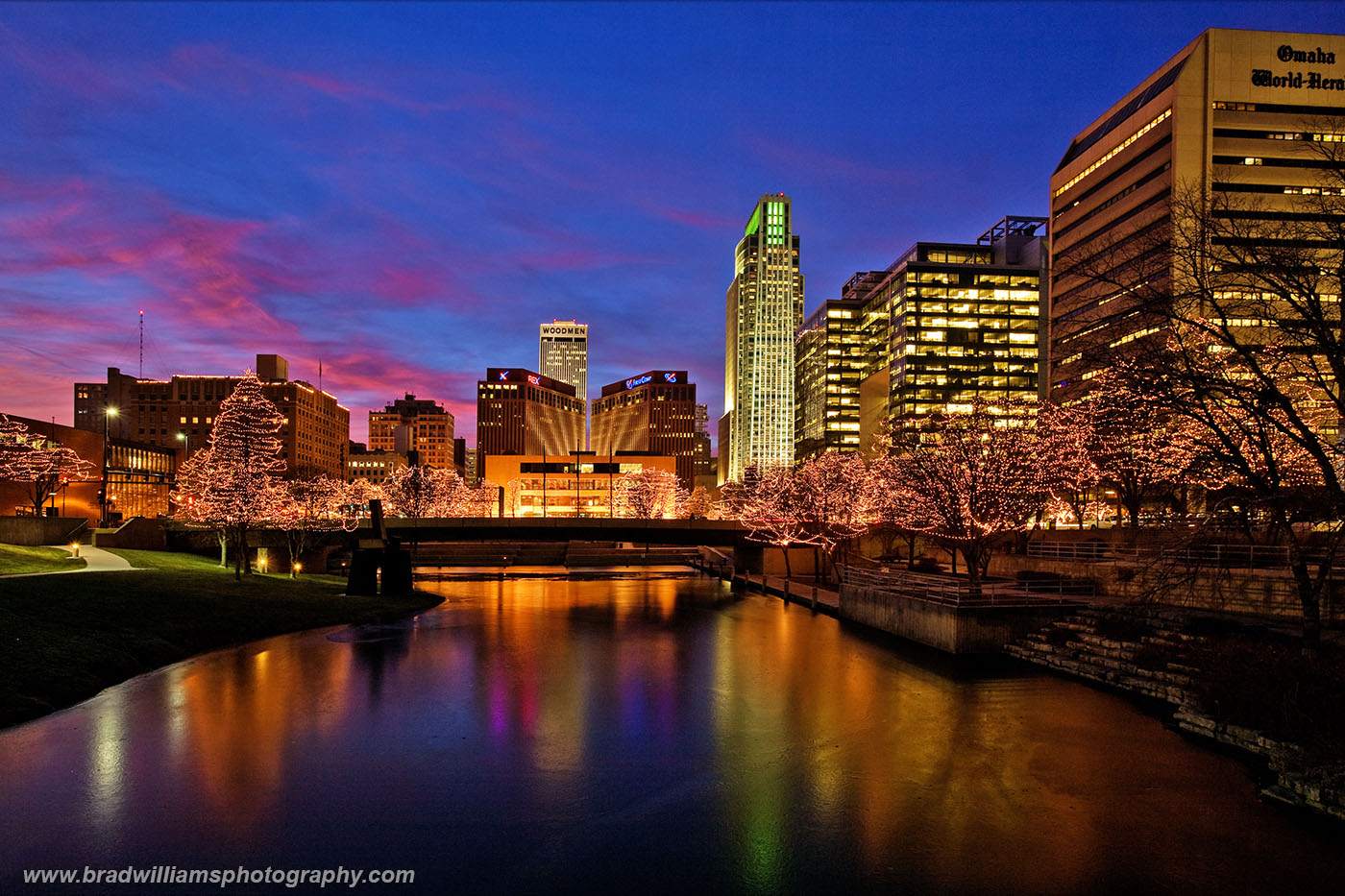 ​The Gene Leahy Mall, holidays, mother nature, twilight, color, Omaha Skyline, photo