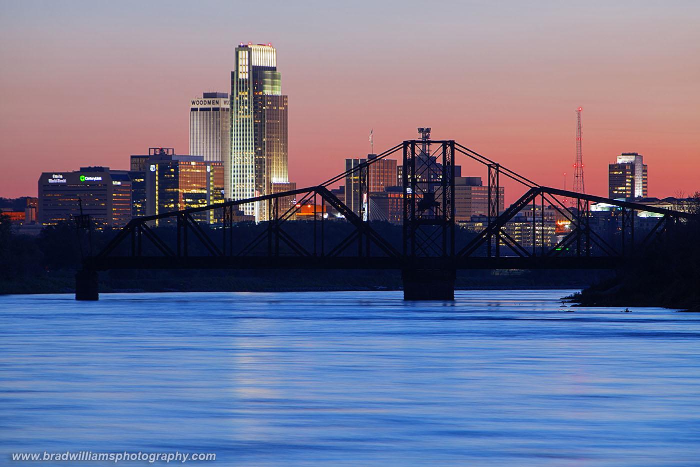 Omaha, Nebraska, Narrows Park, Council Bluffs, Iowa, Illinois Central, Swing Bridge, Omaha Skyline, photo