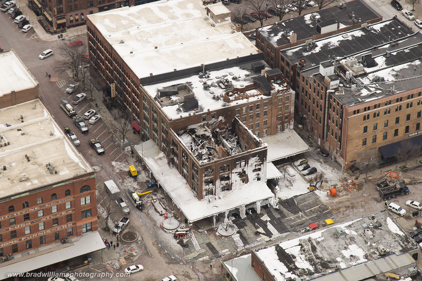 Mercer Building, explosion, fire, destruction, aerial, old market, omaha, nebraska, photo