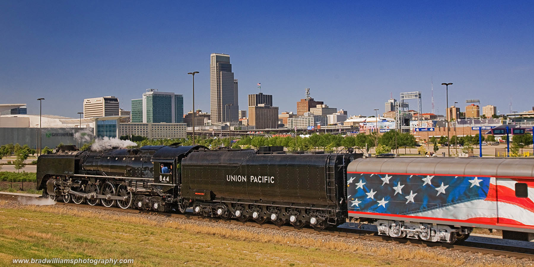 Omaha, Union Pacific, Nebraska, College World Series, Steam, Locomotive, TD Ameritrade Park Omaha, Skyline, photo