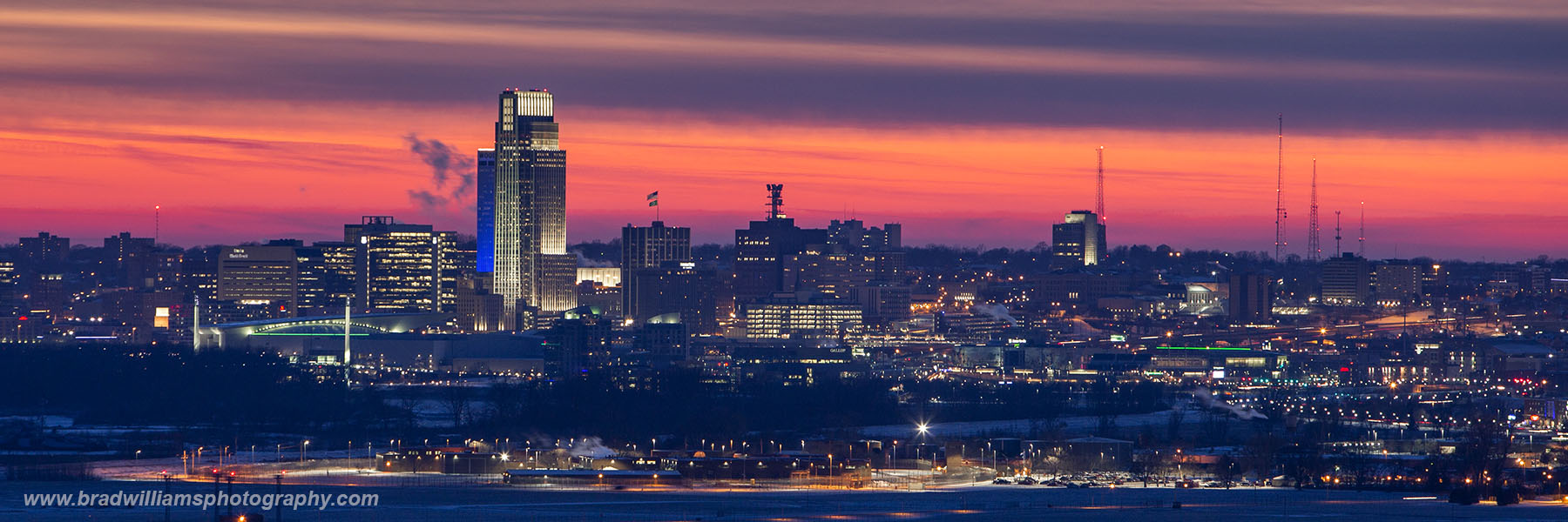 Omaha, Nebraska, winter, sunset, skyelin, photo