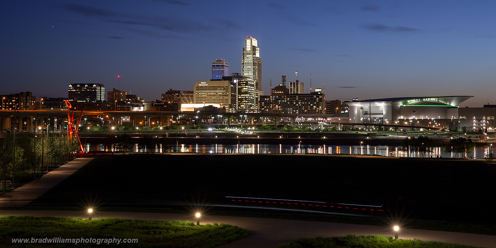 Omaha Skyline from the new River's Edge Pavilionin Council Bluffs.