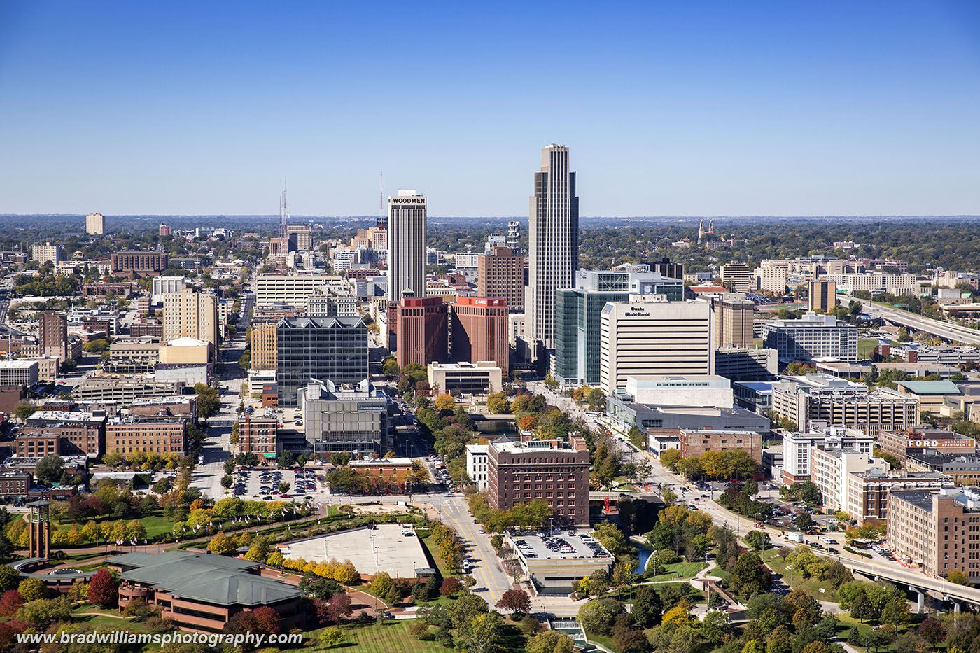 Aerial photo of Omaha, Nebraska photographed from helicopter in 2018.