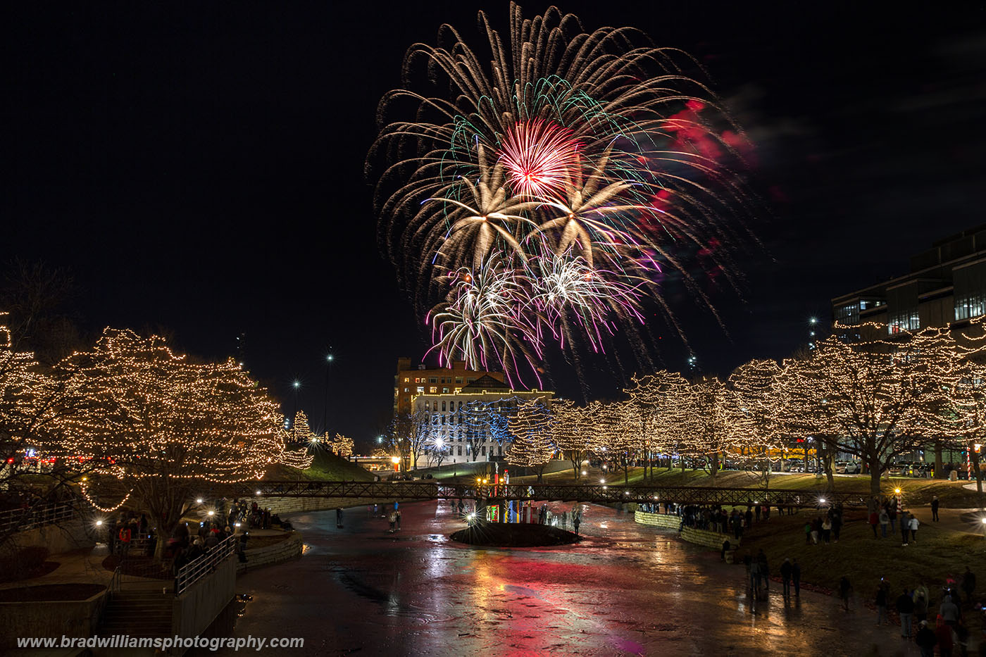 A beautiful evening for the 2018 fireworks in the Gene Leahy Mall, Omaha, Nebraska.  The fireworks were actually shot off in...