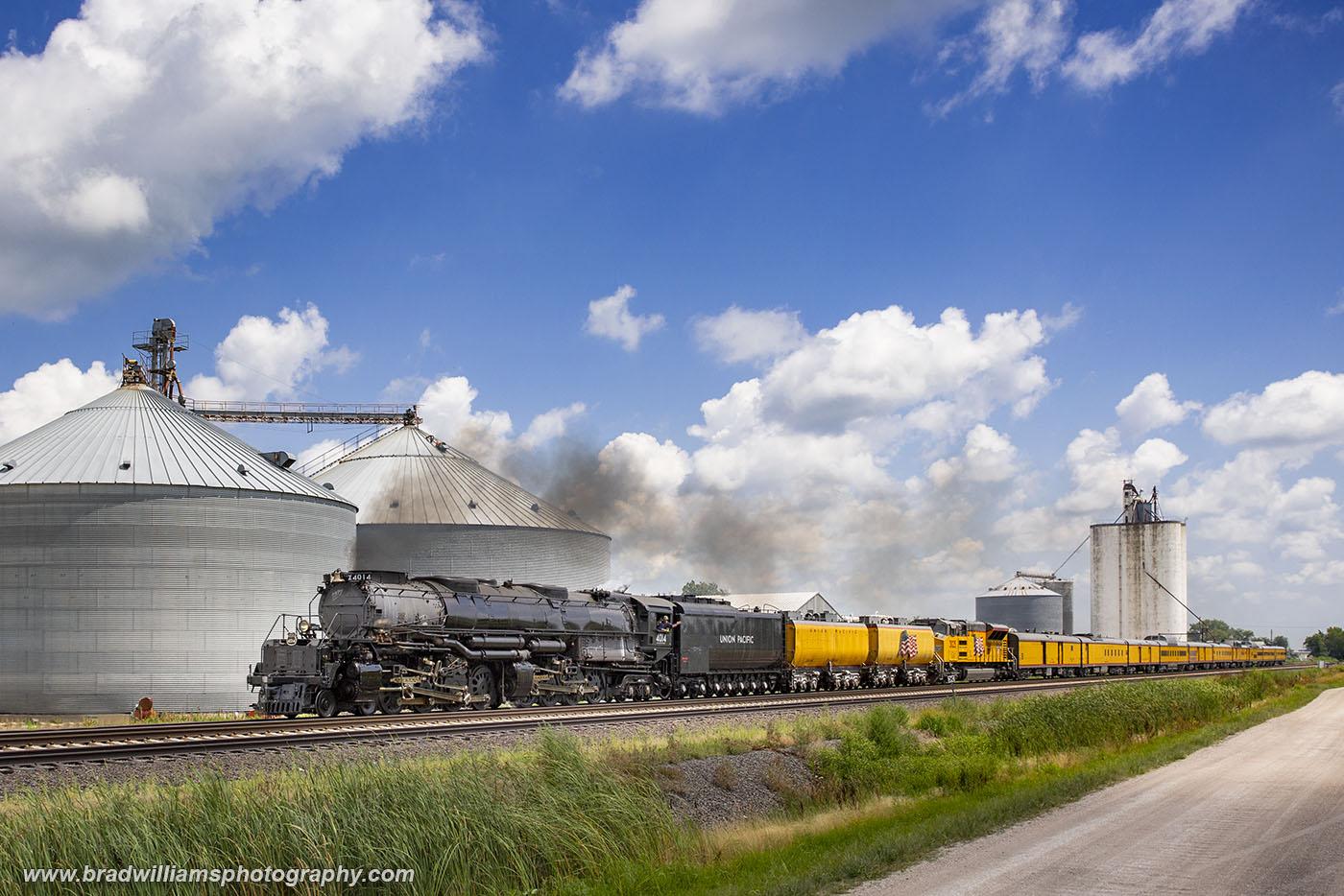 Union Pacific BigBoy 4014 westbound through North Bend, Nebraska in the Summer of 2019.