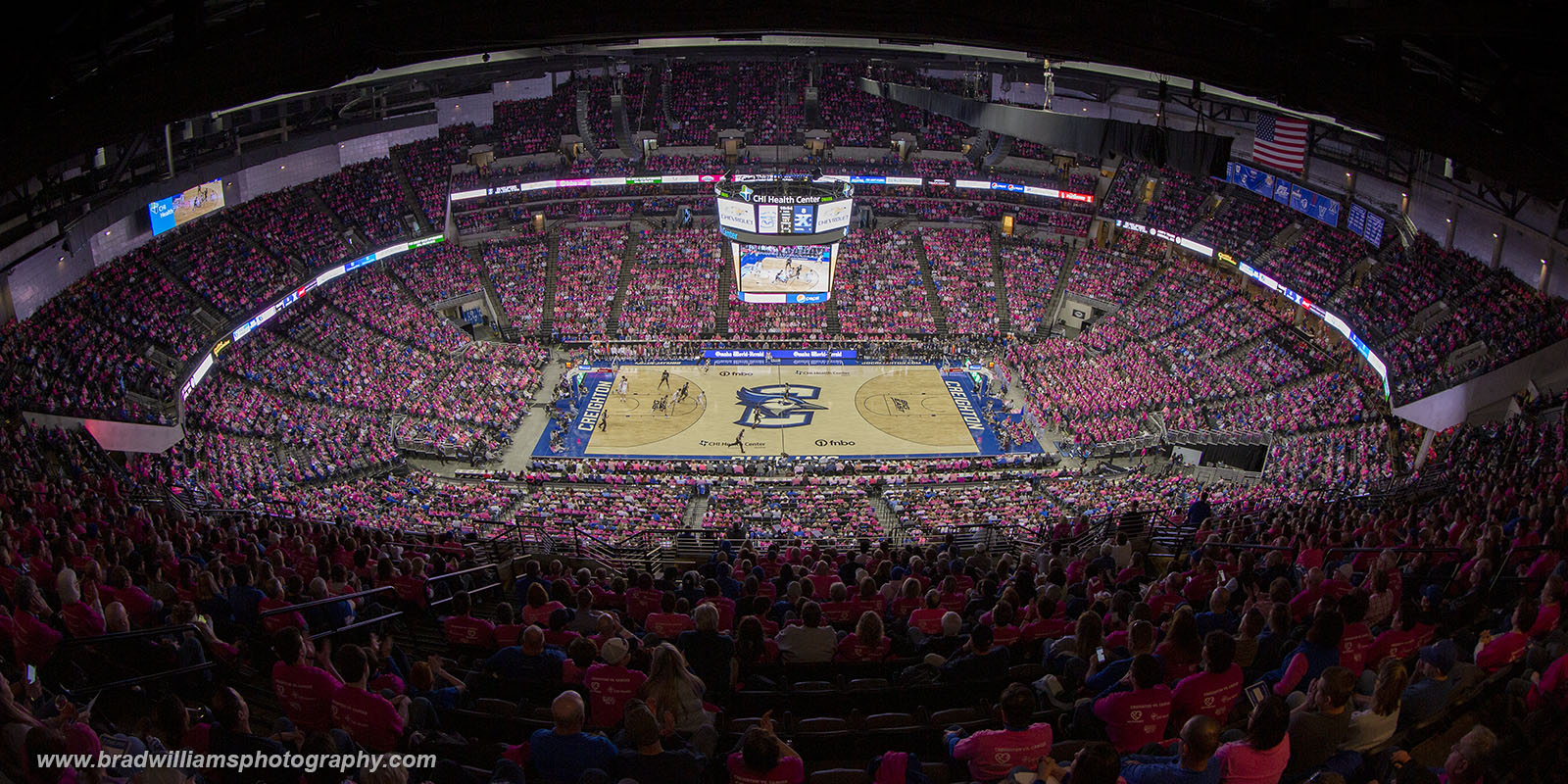 """The annual Creighton VS Cancer """"Pink Out Game"""".  Creighton VS Xavier, 1/26/2020, Attendance = 17,796"""