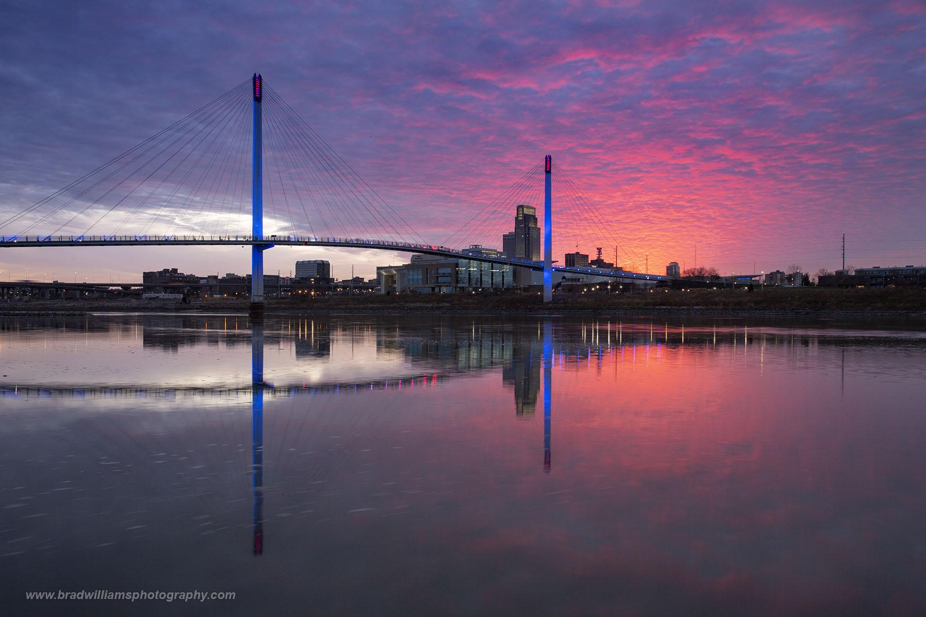 Omaha, Nebraska, Council Bluffs, Iowa, Skyline, Missouri River, Downtown Omaha, Bob Kerry Bridge, Pedestrian Bridge,, photo