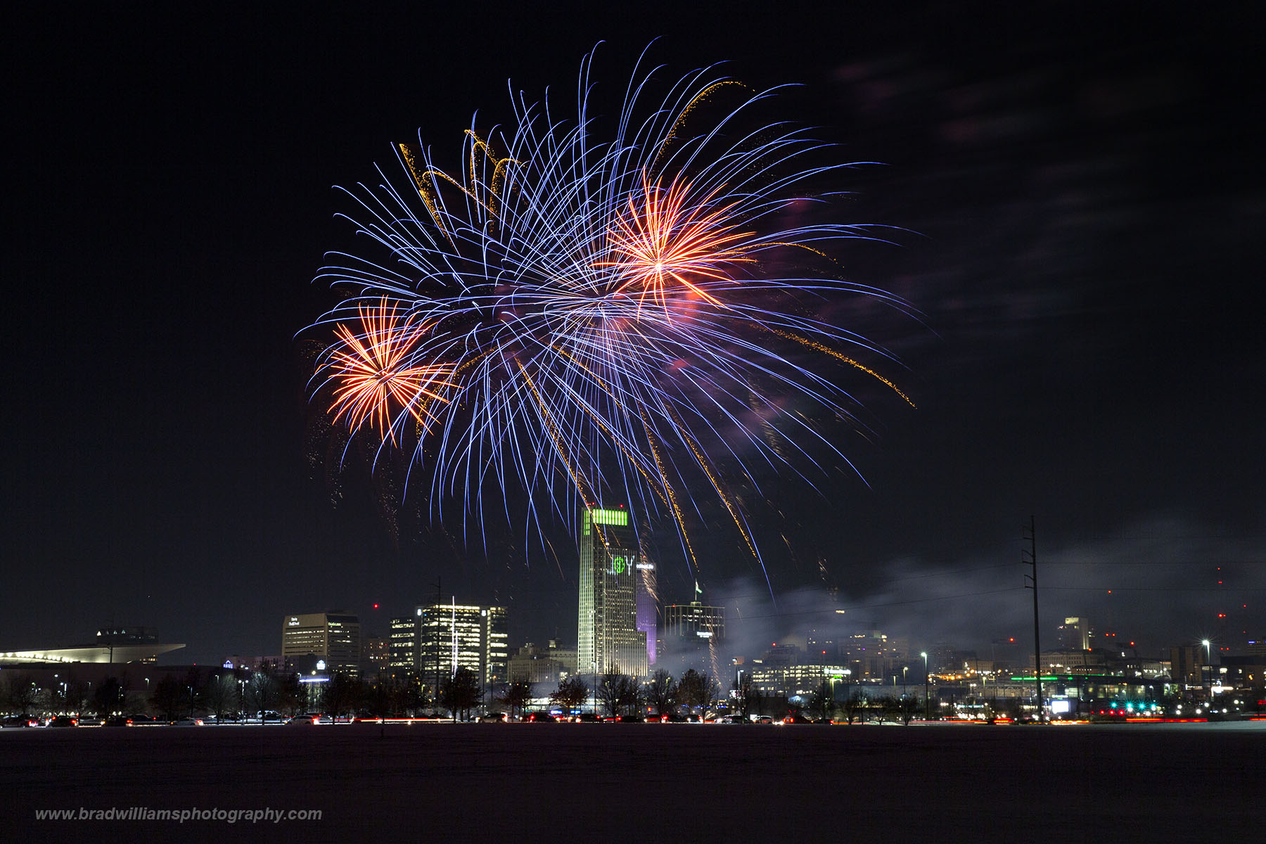 New Year's Eve Fireworks. Downtown, Omaha, Nebraska, Fireworks, Riverfront, photo