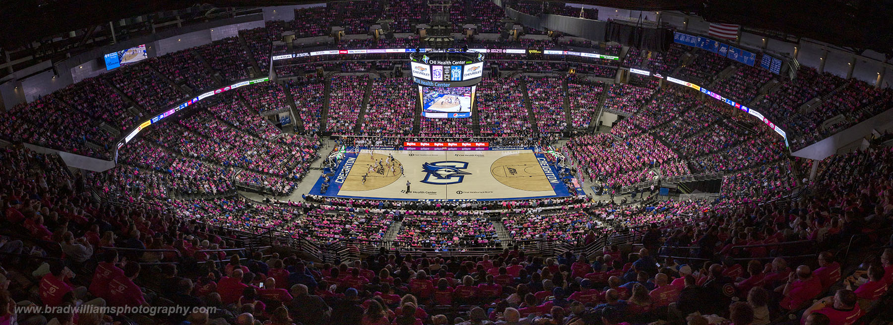 """The annual Creighton VS Cancer """"Pink Out Game"""".  Creighton VS Butler, 1/25/2019, Attendance = 18,089"""