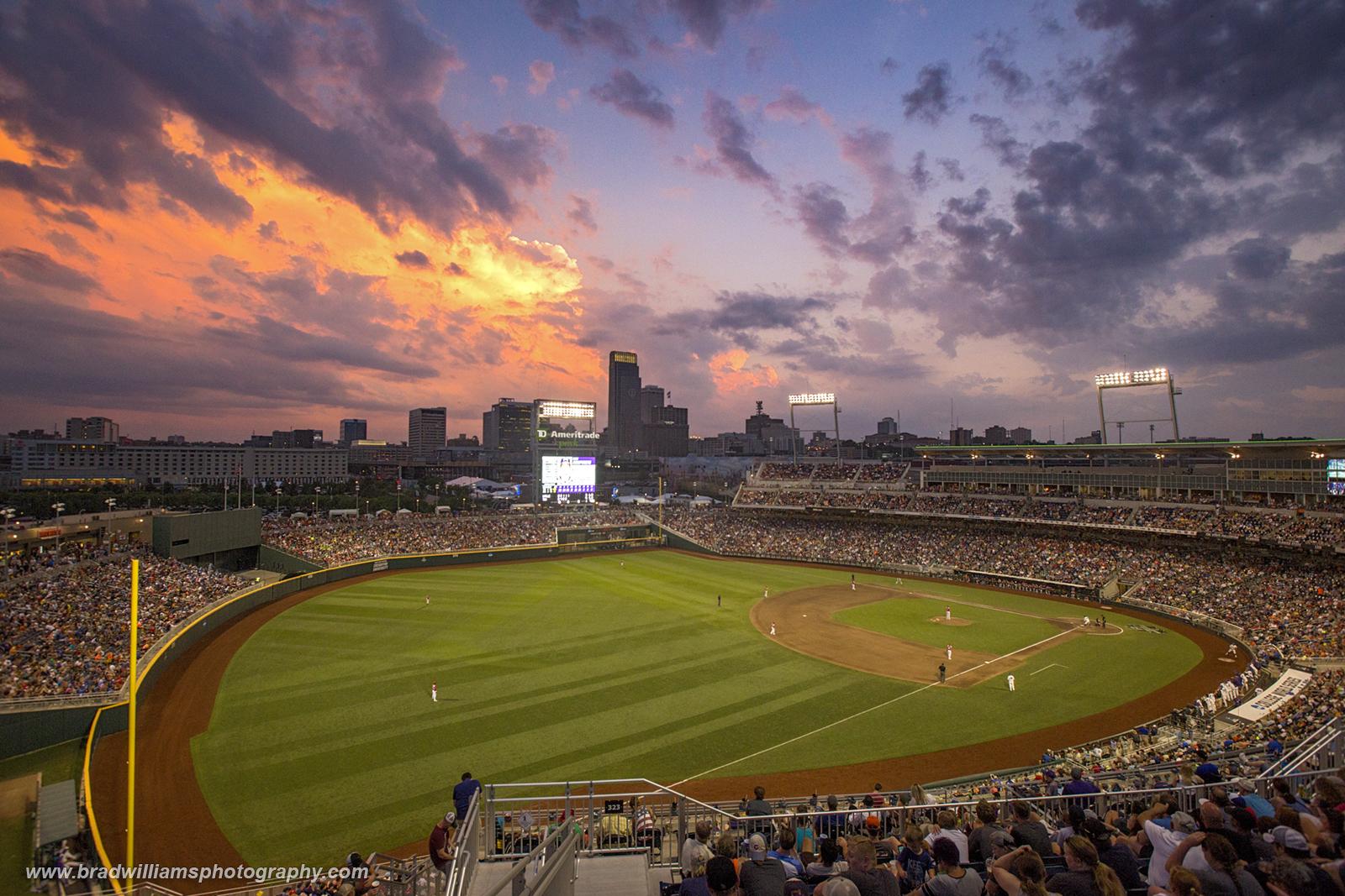 TD Ameritrade Park, Omaha, Nebraska, baseball, thunder storm, photo